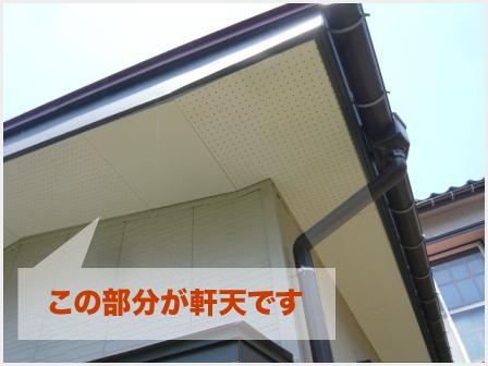 住宅における軒天の箇所