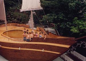 帆船のような露天風呂
