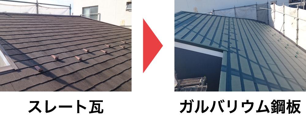 スレート瓦からガルバリウム鋼板に葺き替え