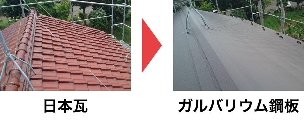 日本瓦からガルバリウム鋼板に葺き替え